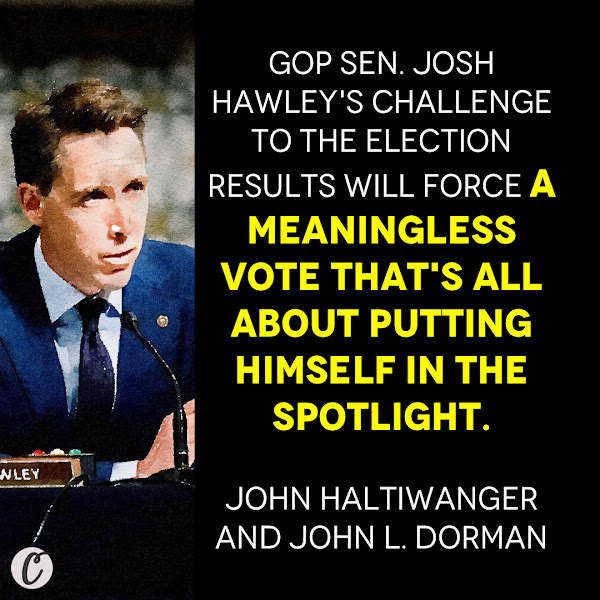 GOP Sen. Josh Hawley's challenge to the election results will force a meaningless vote that's all about putting himself in the spotlight. — John Haltiwanger, Senior Politics Reporter and John L. Dorman, Business Insider