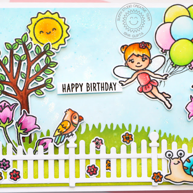 Sunny Studio Stamps: Scalloped Fence Dies Garden Fairy Floating By Seasonal Trees Card by Isha Gupta