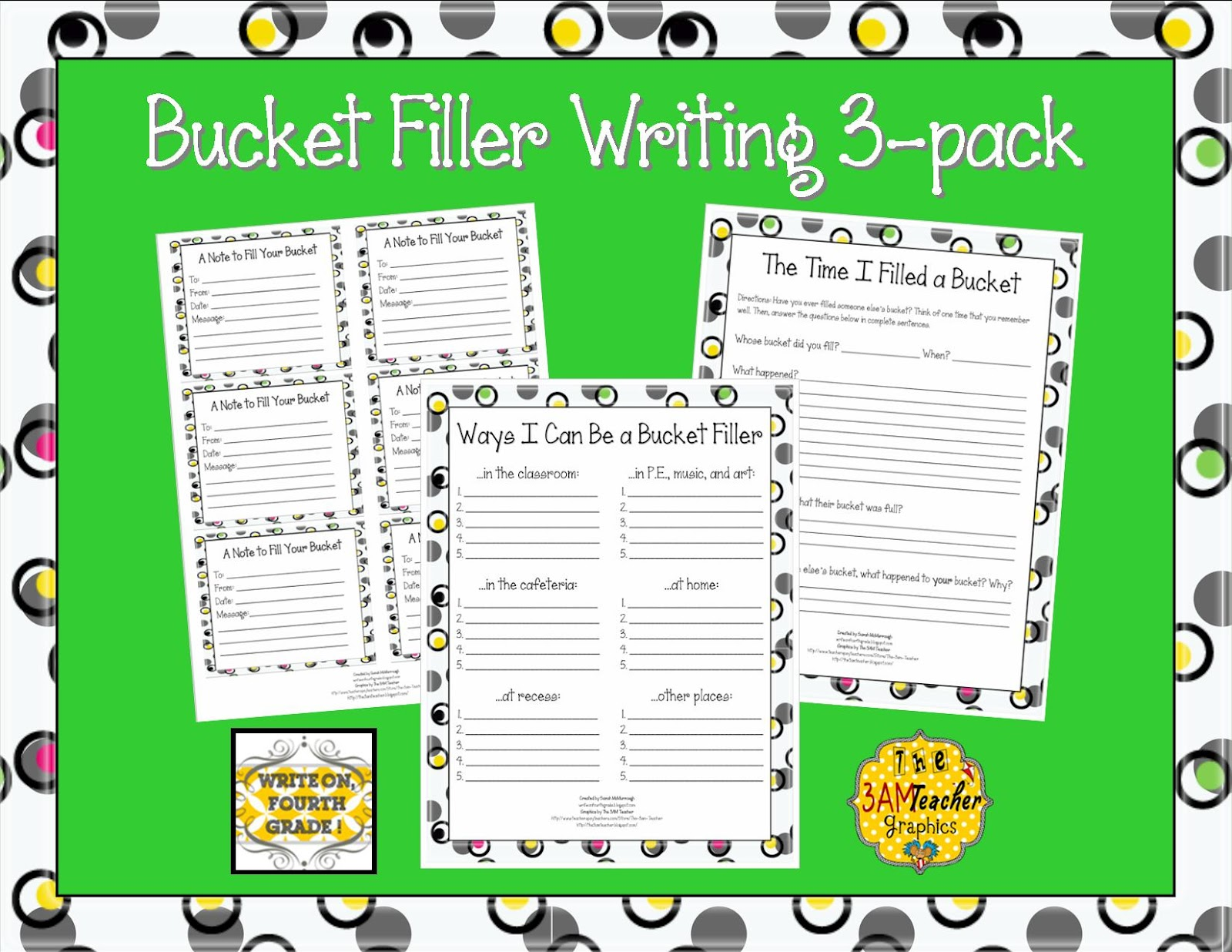Write On Fourth Grade Back To School Bucket Filling