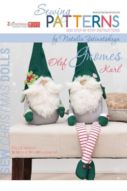 cover of PDF Christmas gnomes with sewing patterns by Zatinatskaya Natalia
