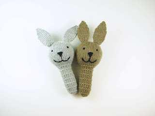 knit, bunny, rattle, rabbit, etsy, toy, baby, gift, gray, brown