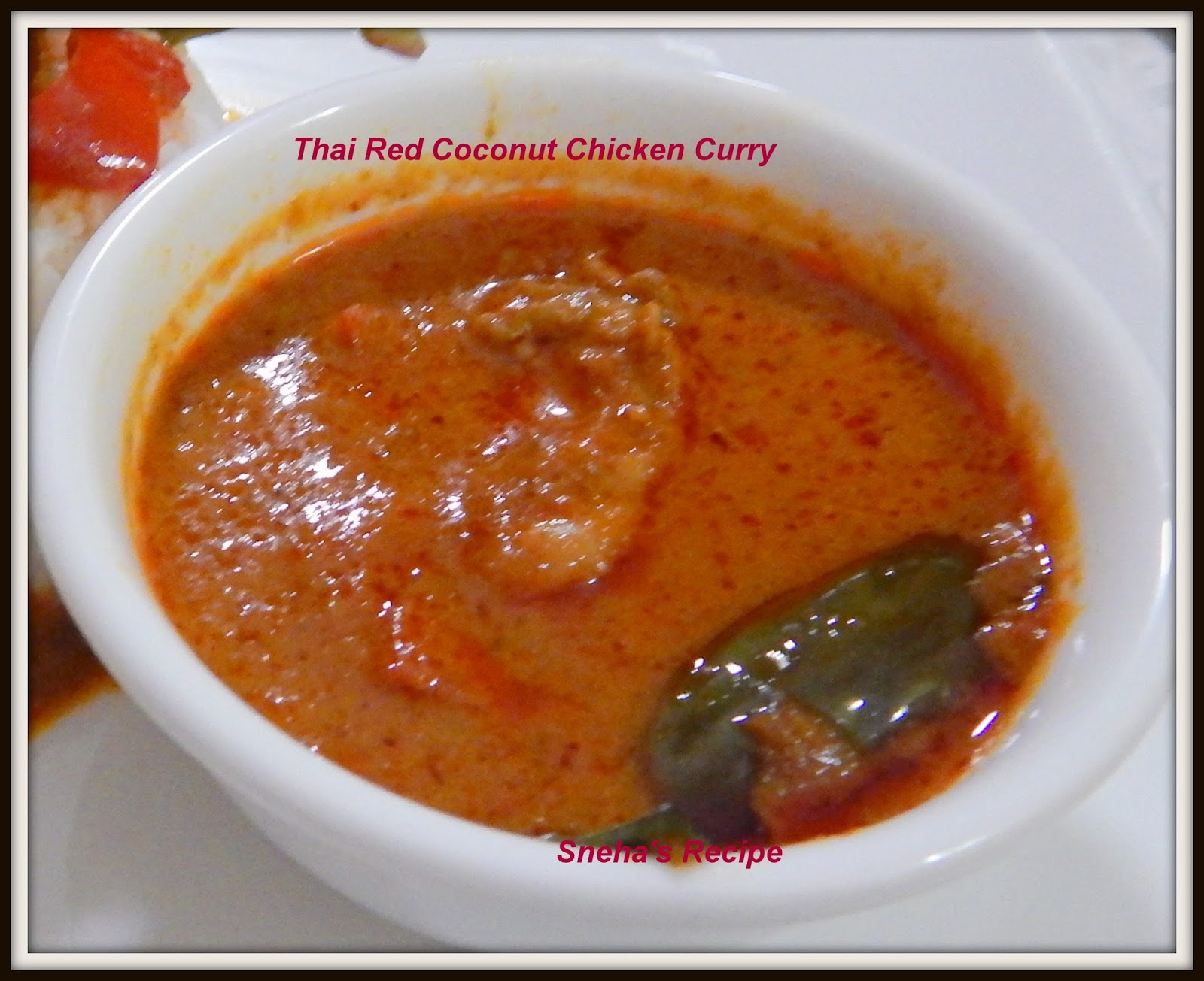 Thai red coconut chicken curry snehas recipe heat oil to wok stir fry eggplants onion garlic ginger and curry paste until onion is softened about 3 minutes then add the chicken pieces and stir forumfinder Gallery