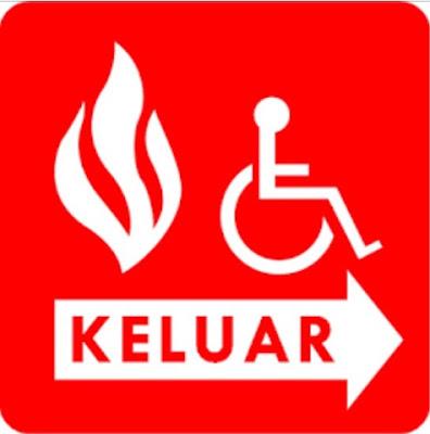 Tanda pintu keluar bagi orang yang berkursi roda