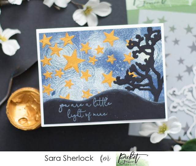 Picket Fence Studios, April 2020 Release, Round and Round We Go Stamp, Stars Stencil, Just a Branch Die