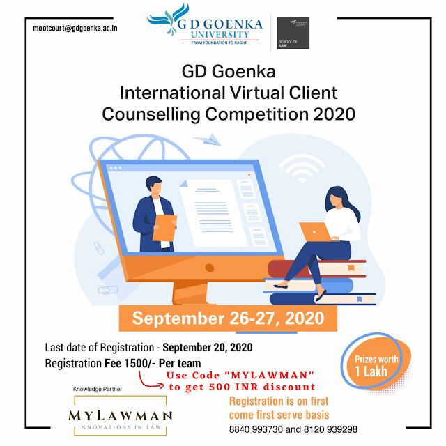 [Last Date Updated] Online International Virtual Client Counselling Competition 2020 by G D Goenka University [Register by 23 September 2020]