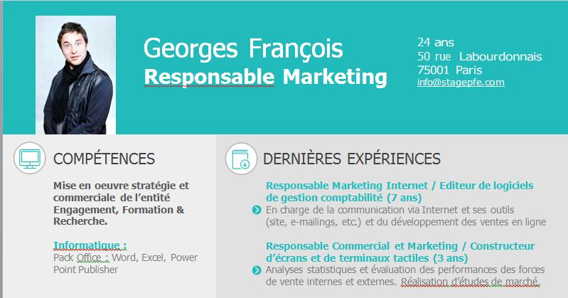 Docx Un Modèles Cv Word Pour Responsable Marketing
