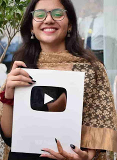 Nidhi Narwal With Silver Play Button