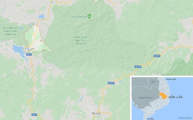 Xã Đắk Nuê, nơi xảy ra hỏa hoạn. Ảnh: Google Maps