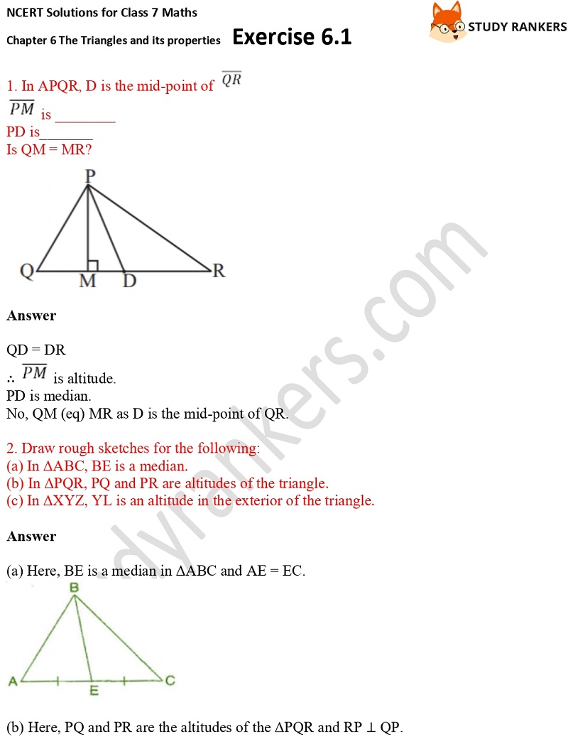NCERT Solutions for Class 7 Maths Ch 6 The Triangles and its properties Exercise 6.1 1