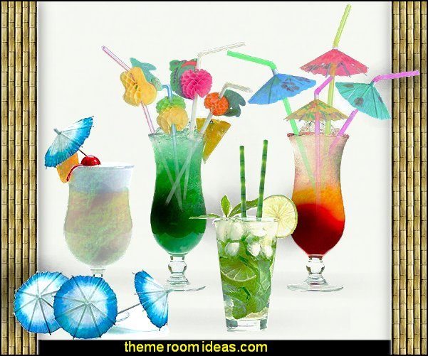 decorative drinks tropical themed party ideas   Tropical party decorations - tropical party ideas - ALOHA Hawaii Luau Party Decorations - Luau Hawaiian Grass Table Skirt raffia Decorations - Hula Hibiscus Tropical Birthday Summer Pool Party Supplies - tiki party pineapple party decorations - beach party - Birthday party  photo backdrop - tropical themed cake decorations - beach tiki themed table decorations -  party props - summer party