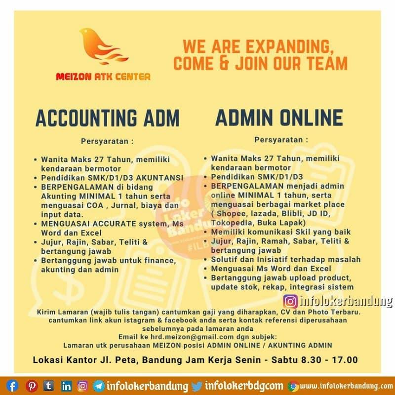 Lowongan Kerja Meizon ATK Center Bandung Juni 2021
