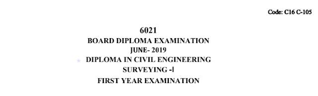 Sbtet Previous Question Paper c16 Civil 105 Surveying-1 June 2019