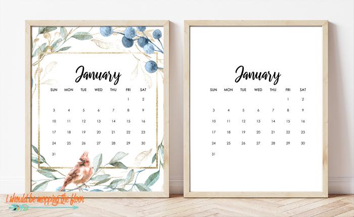 Free Framable Calendar Printable