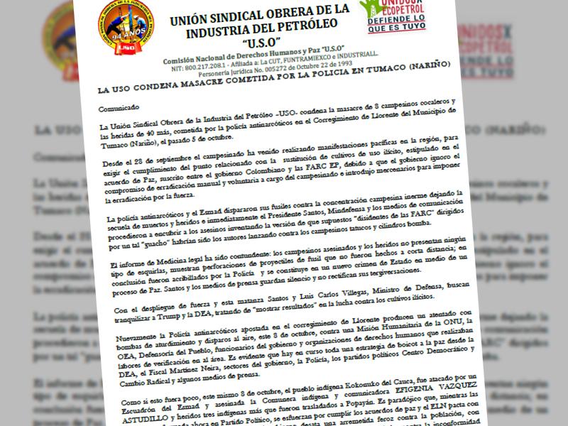 La USO condena masacre cometida por la policía en Tumaco (Nariño)