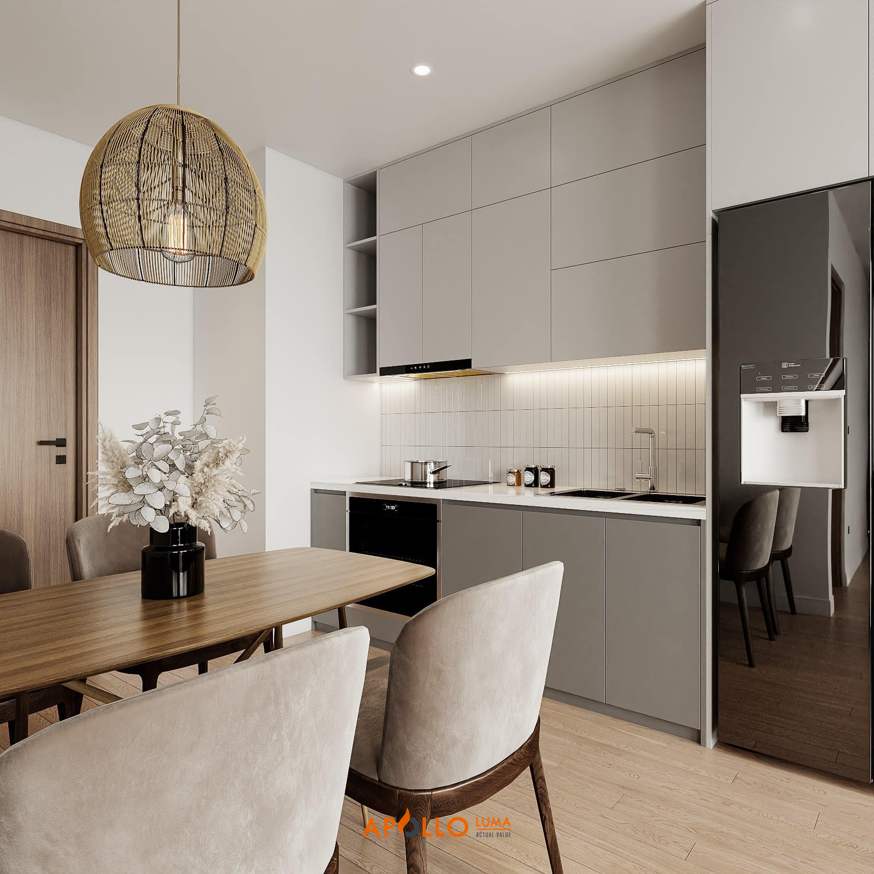 Thiết kế nội thất căn 2PN+2WC (63m2) S4.02-05 Vinhomes Smart City