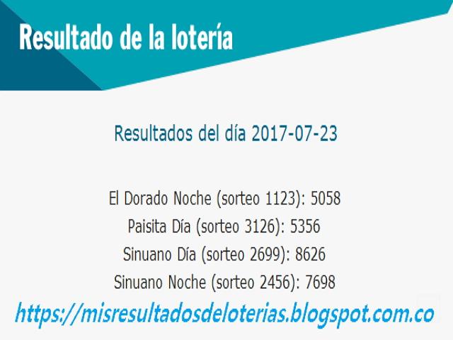 Como jugo la lotería anoche - Resultados diarios de la lotería y el chance - resultados del dia 23-07-2017