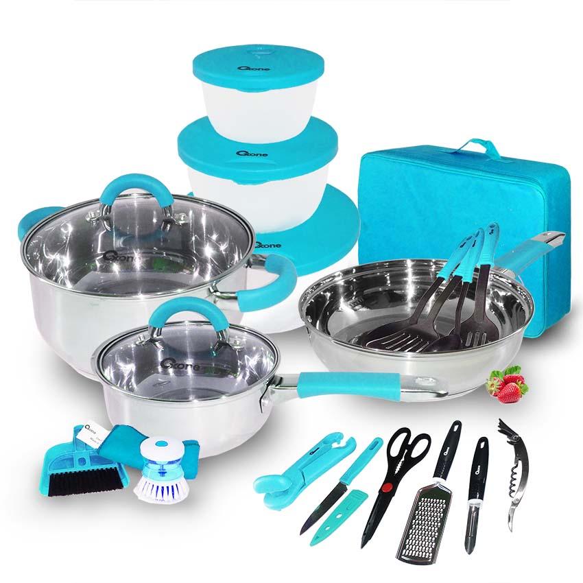 OX-992 Panci Oxone 23Pcs Travel Cookware Set - Biru