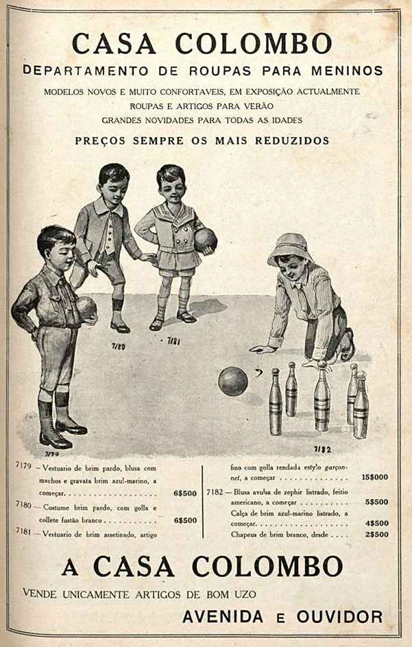 Propaganda antiga da Casa Colombo em 1916 promovendo roupas para meninos