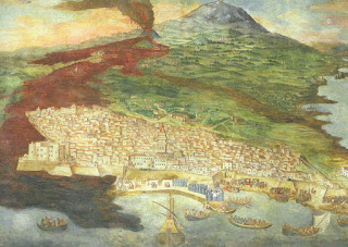 The 1669 eruption is captured in art by Giacinto Platania in a fresco in Catania's duomo