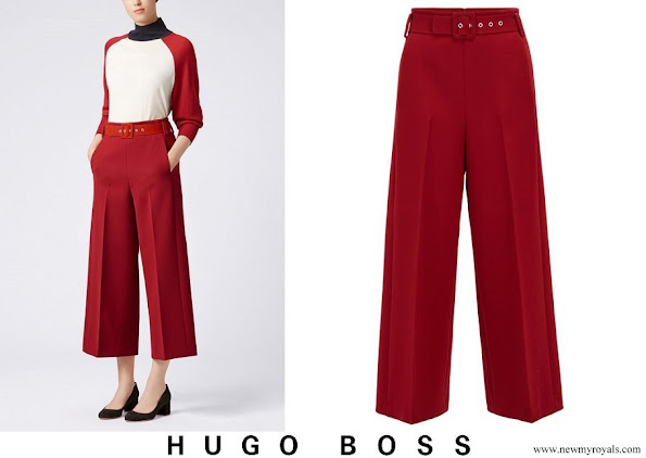 Queen Letizia wore Hugo Boss Trima cropped wide-leg trousers