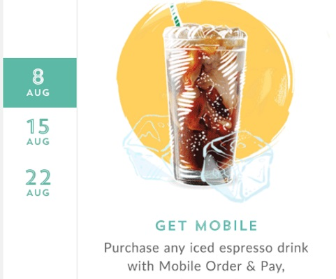 Starbucks 50 Bonus Stars with Iced Espresso Drink Summer Monday Break