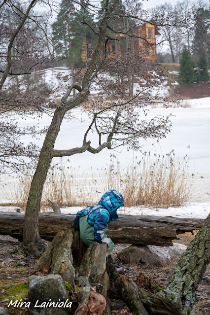 Aino Ackten huvila näkyy taustalla lapsen kiivetessä kannolle
