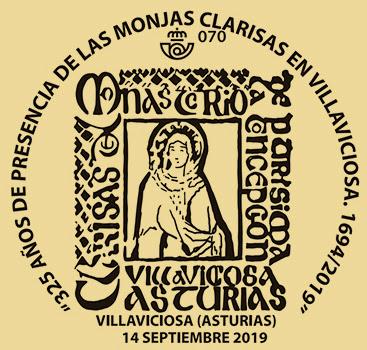 Matasellos 325 aniversario de las Clarisas de Villaviciosa