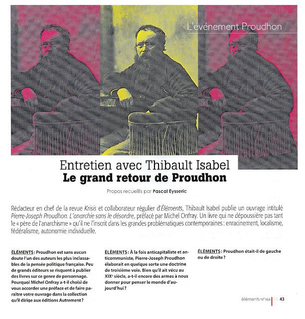 Pierre-Joseph Proudhon Isabel Onfray Autrement Eléments