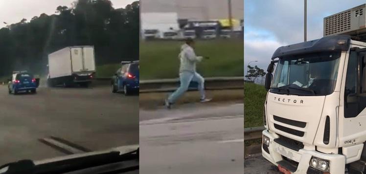 Vídeo mostra exato momento em que assaltante de caminhão é baleado e reféns são liberados