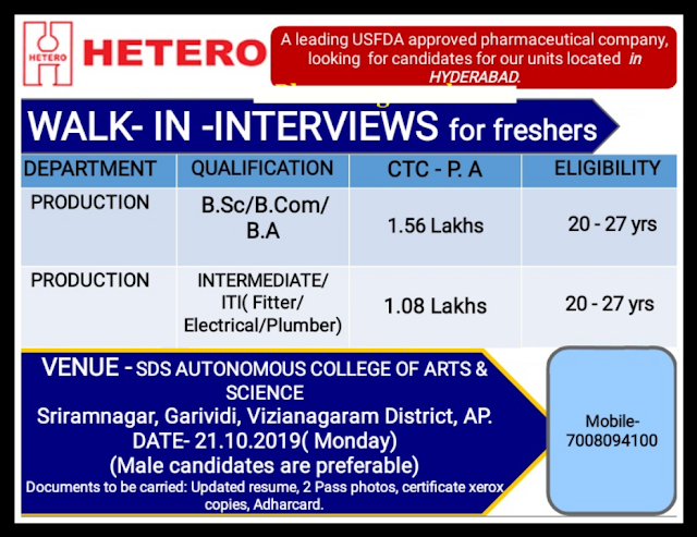 HETERO LABS LIMITED - Walk-In Interviews for Freshers on 21st Oct' 2019