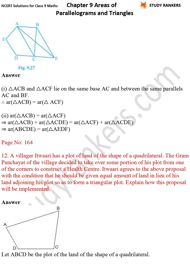 NCERT Solutions for Class 9 Maths Chapter 9 Areas of Parallelograms and Triangles Part 15