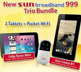 Sun Broadband Gadget Plan 999 TRIO Bundles 2 Tablets and Pocket Wi-Fi