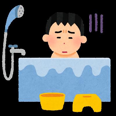 お風呂が嫌いな子供のイラスト