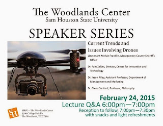 The Woodlands Speakers Series: Current Trends and Issues Involving Drones, Feb 14, 6-7:30pm, The Woodlands Center, Room 110