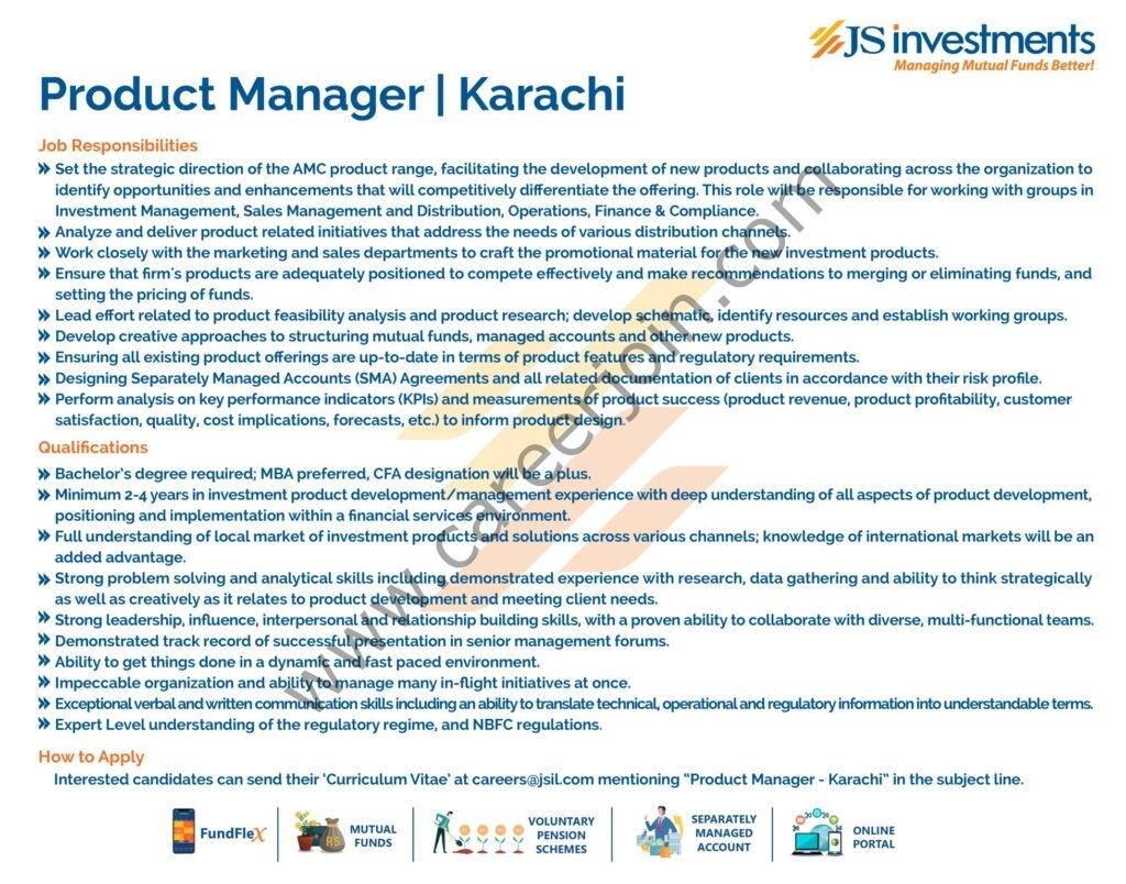 careers@jsil.com - JS Investments Ltd JSIL Jobs 2021 in Pakistan