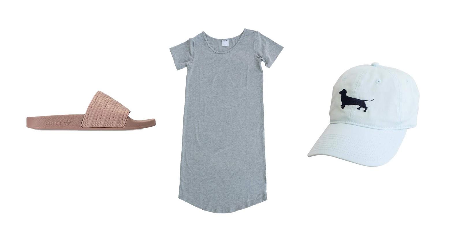 College Blogger, Lifestyle Blogger, Wisconsin Blogger, Favorite Things, Adidas Womens Adilette Slides Blush Pink, Very Jane Tshirt Dress, Seaside Weiner Dog Baseball Hat