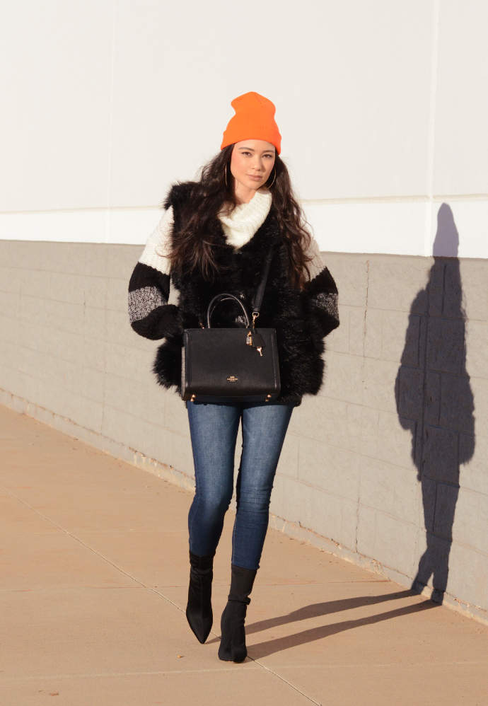 orange beanie, sock boots, PrettyLittleThing, Boohoo, SheIn