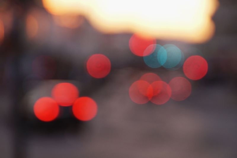 Vienna city at night car lights bokeh