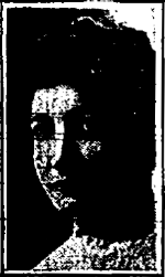 A poor-quality portrait from a newspaper showing a young white woman with large eyes and fine features, and thick dark hair