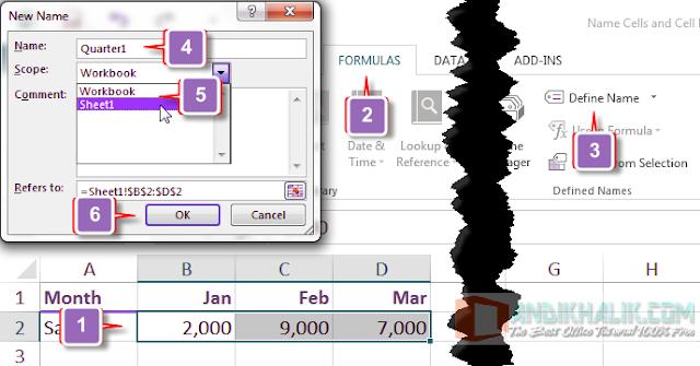 Memberi Nama Sel, Range Sel, dan Konstanta pada Excel