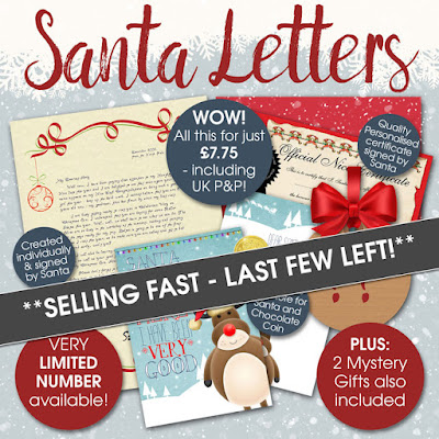 Personalised Santa Letter Gift Packs - beautiful customised letter, quality personalised certificate and gifts too!
