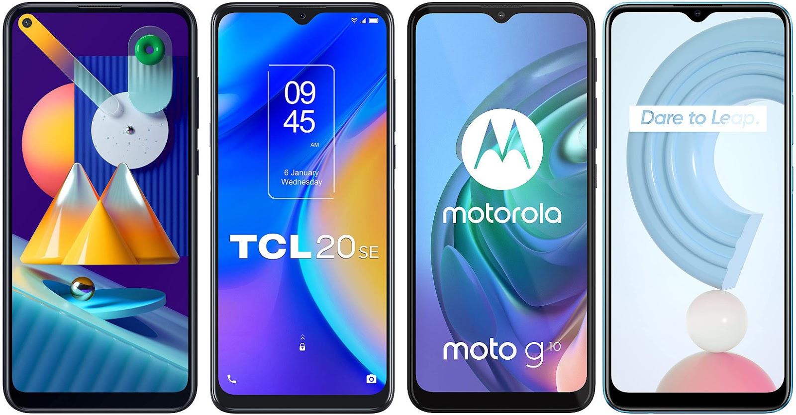 Samsung Galaxy M11 vs TCL 20 SE vs Motorola Moto G10 vs Realme C21
