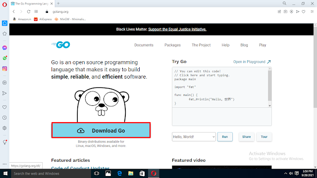 Go download and installation tutorial for Windows 10, go programming language download