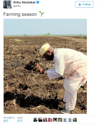 Have you seen Atiku's epic reply to a twitter follower who called him out for wearing Rolex watch 'Pretending' to farm?
