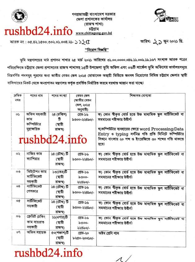 জেলা প্রশাসক কার্যালয়ে নিয়োগ বিজ্ঞপ্তি ২০২১।Chittagong dc office job circular 2021।dcctg teletalk com bd