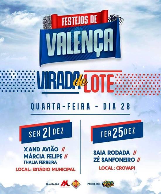 Festejos de Valença 2018 terá virada de preços nesta quarta (28); Xand Avião, Márcia Fellipe e Saia Roda estão confirmados