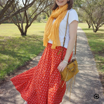 awayfromblue Instagram | spring scarf style red printed maxi skirt white tee cross body bag