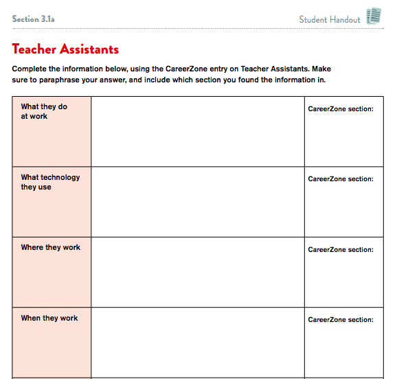 Image of a student handout page for capturing research on an occupation. This example is for a Teacher Assistant.