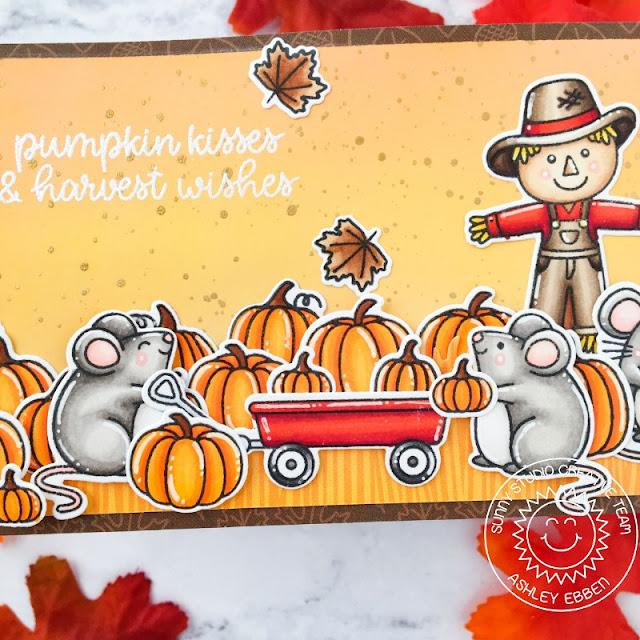 Sunny Studio Stamps: Harvest Mice Farm Fresh Slimline Dies Fall Themed Cards by Ashley Ebben