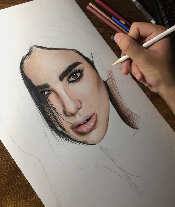 08-Dua-Lipa-Samuel-Ulysses-Celebrity-Portraits-in-Pencil-www-designstack-co